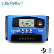 Mppt Solar Charge Controller Dual Usb Lcd Auto Zonnepaneel Oplader Regulator Mppt 60A 30A 40A 50A 100A 12 v/24 V Auto Passen