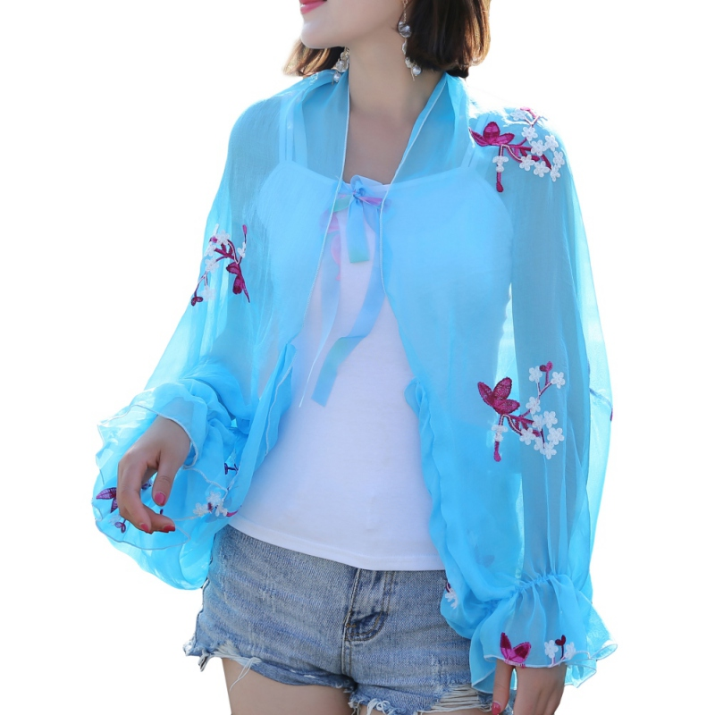 Summer Sun Coat Sunscreen Chiffon Long Sleeve Lady Cycling Shawl Riding Beach Sunscreen Shade Cover Sportswear Women