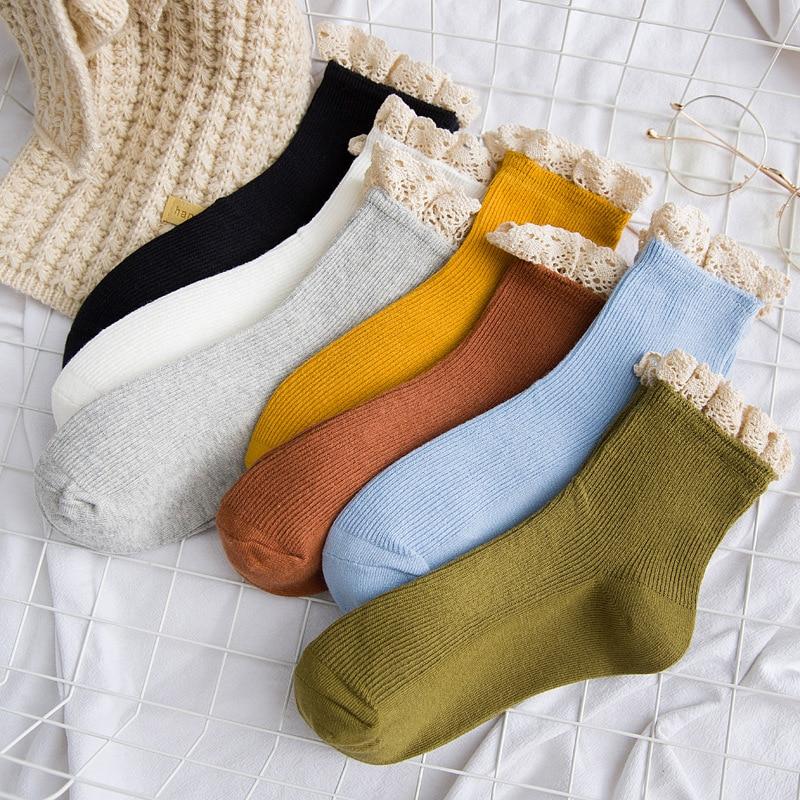 New Fashion Vintage Women Short Socks  Autumn Winter  Cute Lace Cotton Solid Girl Sweet Sock
