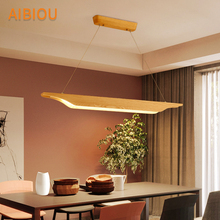 AIBIOU 220V LED Pendant Lights With Long Wood Lampshade For Dining Room Resturant Lamp Adjustbale Hanging Luminaire
