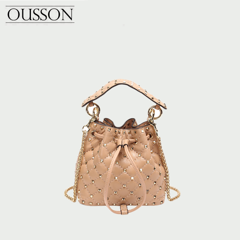 OUSSON Genuine Leather Bucket Bags For Women Soild Ladies Shoulder Bag Crossbody Bags Fashion Women Leather Handbags 2020