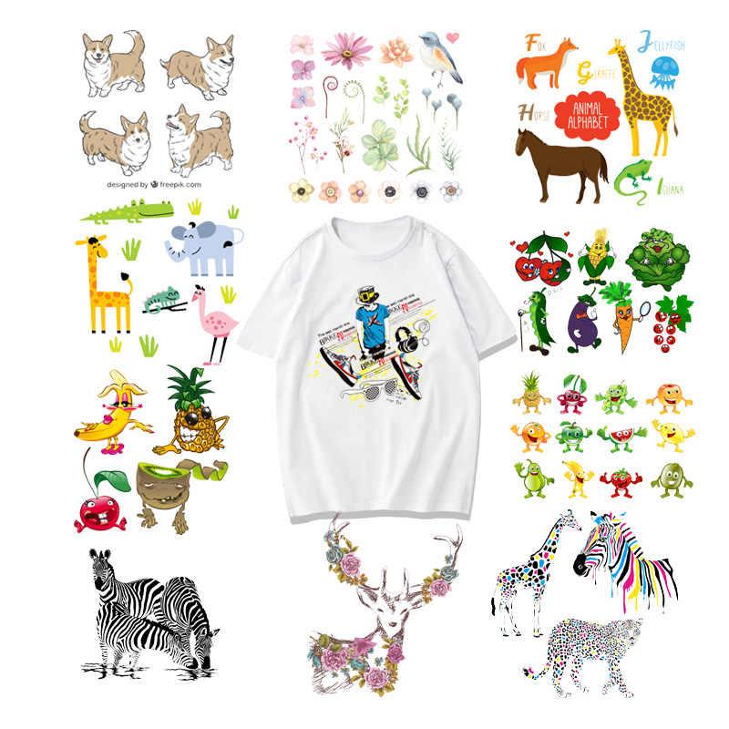 Iron-ON Transfer Patches สัตว์น่ารัก Patch สำหรับเสื้อผ้าสติกเกอร์สำหรับเด็กสาวแพทช์ DIY เสื้อยืด HEAT Transfer ไวนิล F