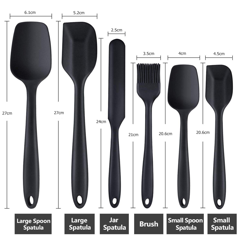 LMETJMA 6 Piece Silicone Spatula Set Non-Stick Heat-Resistant Spatulas Turner for Cooking Baking Mixing Baking Tools KC0320