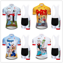 Banesto Popeye Cycling Jersey Set Spinach Cartoon Short Sleeve Set 9D GEL Animated Pants Breathable Windbreaker Sun Protection(China)