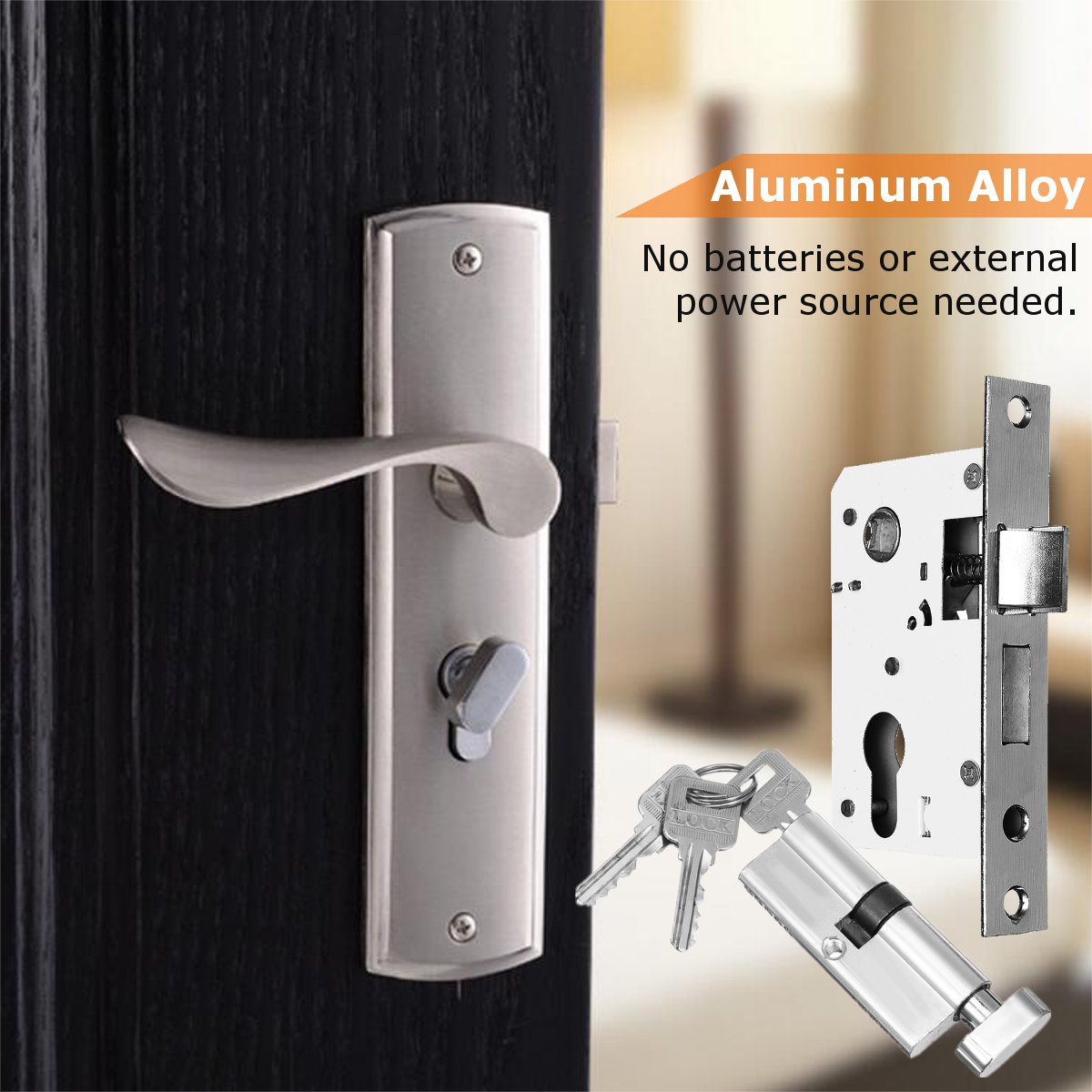 Aluminum Alloy Mechanical Door Lock Set Handle Deadbolt Latch Locks Interior Lockset Kit Home Office Security Door Hardware