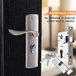 Liga de alumínio de Bloqueio Mecânico Da Porta Conjunto Punho Lockset Deadbolt Trava Fechaduras Interior Kit Home Office Ferragem Da Porta de Segurança