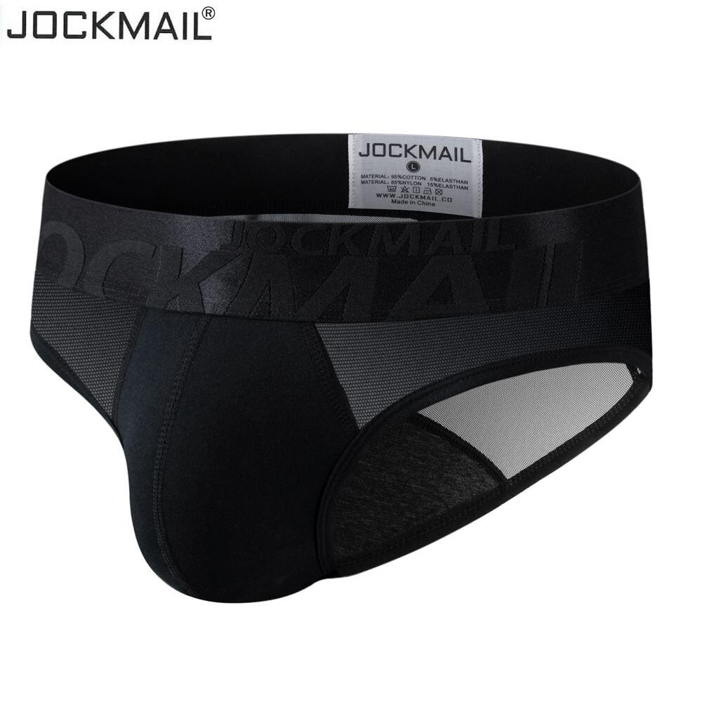 Трусы-брифы JOCKMAIL мужские прозрачные, хлопковые дышащие трусы с заниженной талией, пикантное нижнее белье для геев