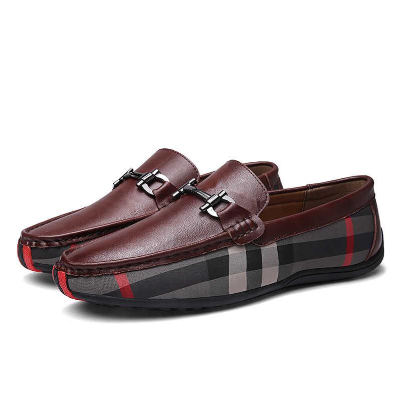 2019 mężczyźni przyczynowe skórzane buty męskie mieszkania oddychająca Loafer buty do jazdy samochodem łodzi buty duży rozmiar męskie mokasyny Sneaker Slip on