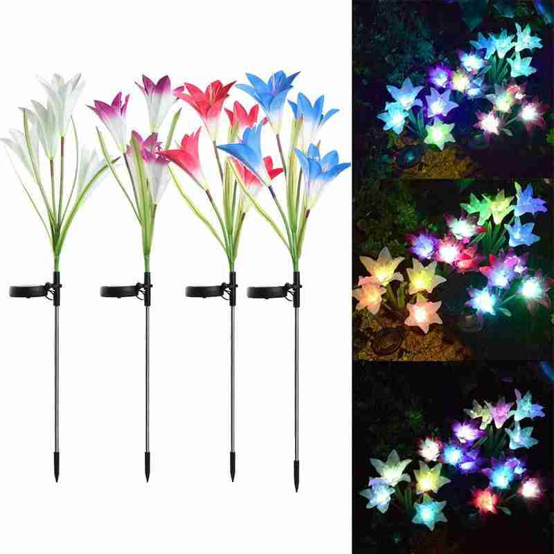 1pc Solar Lily Flower Lights LED Fairy IP65 Waterproof Wedding Party Christmas Decoration Garden Outdoor Lights