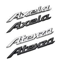 Estilo do carro 3d metal ou plástico emblema adesivos auto logotipo preto prata decoração acessórios para mazda axela atenza