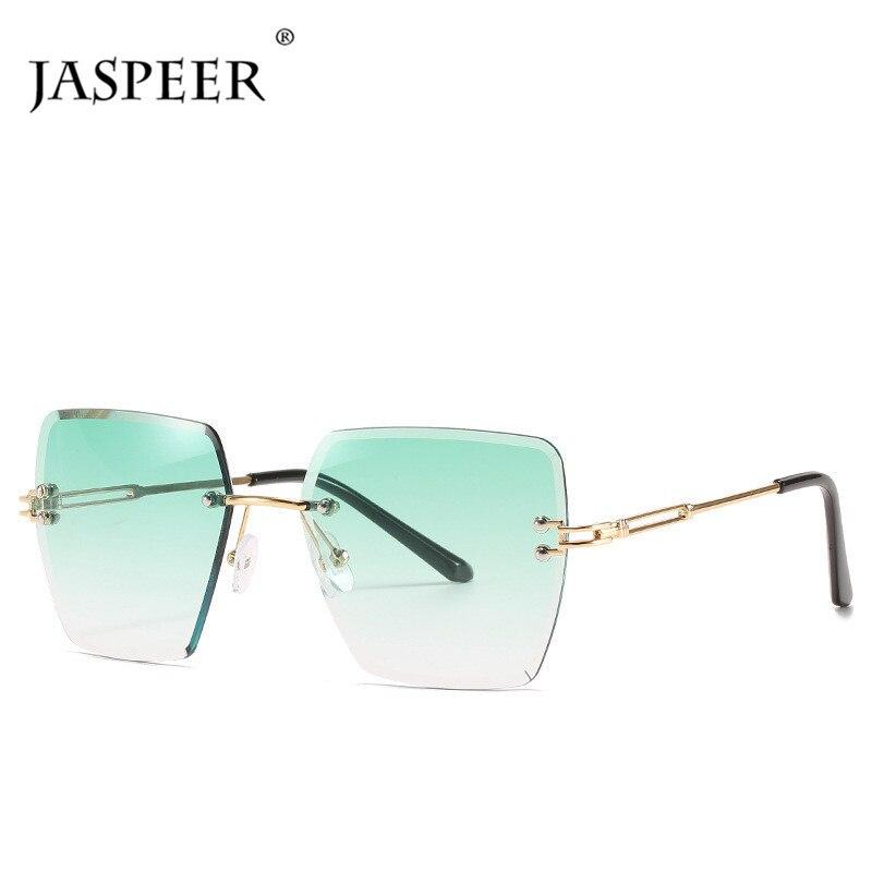 JASPEER Übergroßen Randlose Sonnenbrille Frauen Marke Designer Vintage UV400 Fahren Sun Glass Männer Damen Shades Rahmenlose Brillen