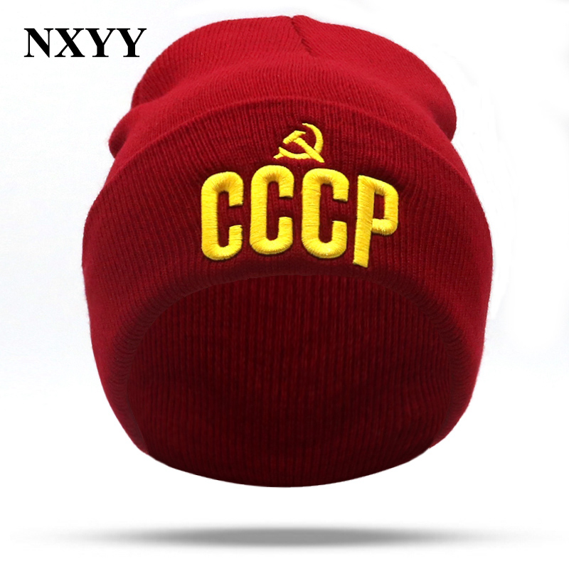 NXYY Lucky Red CCCP Russia Emblem Communism 3D Embroidery Knitted Hat Beanie Cap USSR Soviet Badges Sickle Hammer Christmas Gift