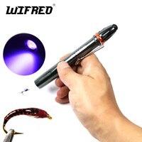 Wifreo 1pc 디럭스 플라이 타잉 UV 접착제 큐어 라이트 토치 펜 울트라 바이올렛 요정 부저 헤드 경화 램프 야외 캠핑