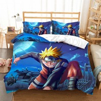3D Bedding Set Animation Naruto Soft Bed Duvet Cover Set Double Queen Size