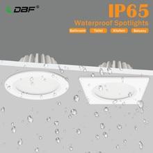 [DBF]IP65 wodoodporny reflektor LED 5 W 7W 9W 12W 15W okrągły/kwadratowy sufit wpuszczany Spot łazienka Spot Light 3000K/4000K/6000K