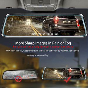 Image 5 - HGDO 10 inch Car DVR  Rearview Mirror Dash cam Full HD Touch screen car camera 1080P dvrs Dual lens video Recorder autoregister