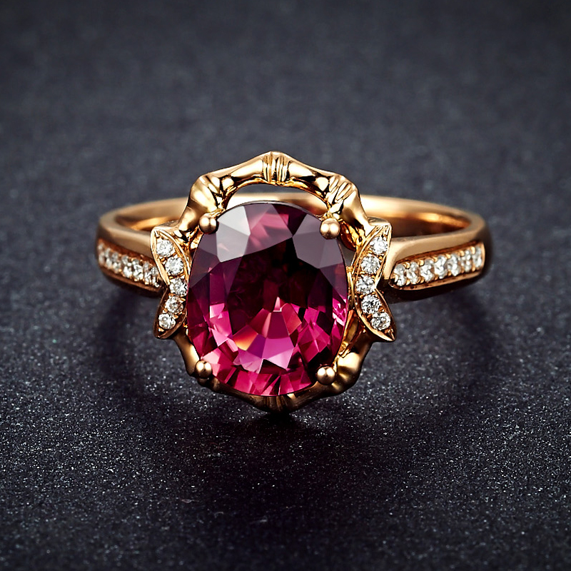 Lszb Tormalina Rossa Naturale 18K Oro Puro 2019 Nuovo Caldo Superiore di Vendita Anello di Donne Anello per Le Signore Donna Genuino gioielli