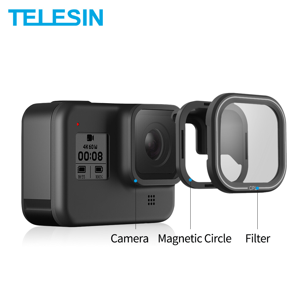 TELESIN Lens-Protector CPL-FILTER Action-Camera ND Gopro ND16 Hero 8 ND32 for 4pack