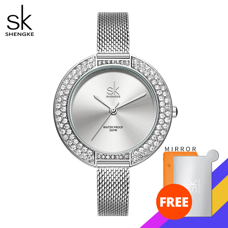 Shengke Luxury Women Watch Diamond Dial Bracelet Wristwatch For Girl Elegant Ladies Quartz Watch Female Dress Watch Brand Watch