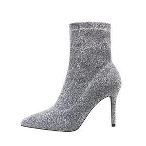 Image 3 - SEGGNICE Botas de calcetín de tacón alto para mujer, Botines de tacón fino, botines sexys a la moda para otoño e invierno, botas con lentejuelas, 2019
