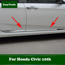 Car Door Body Chrome Side Molding Protector Trim Stainless Steel Anti-rub strip sticker For Honda civic 10th Car Accessories цена и фото