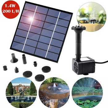 1.4W Solar Water Pump DC Submersible Water Pump For Outdoor Garden Fountain Fish Tank Pond Brushless Solar Pump 7v solar powered fountain water pump connect tube with nozzles solar birdbath fountain pump for garden waterfalls pond fish tank