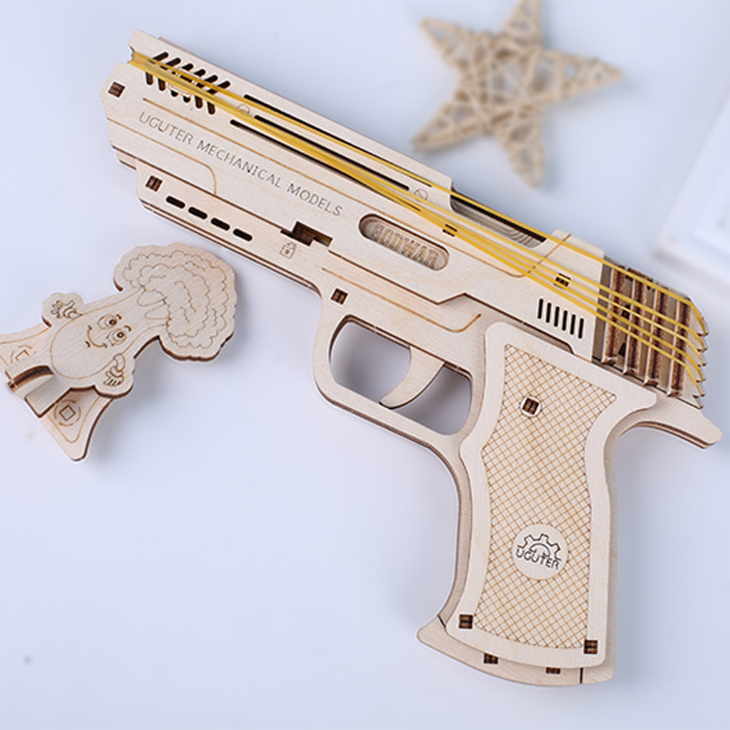 Wooden Puzzle Model Kit Handmade Mechanical Transmission Rubber Band Shooter DIY Designer 3D Puzzle Constructor Gun Toy For Kids