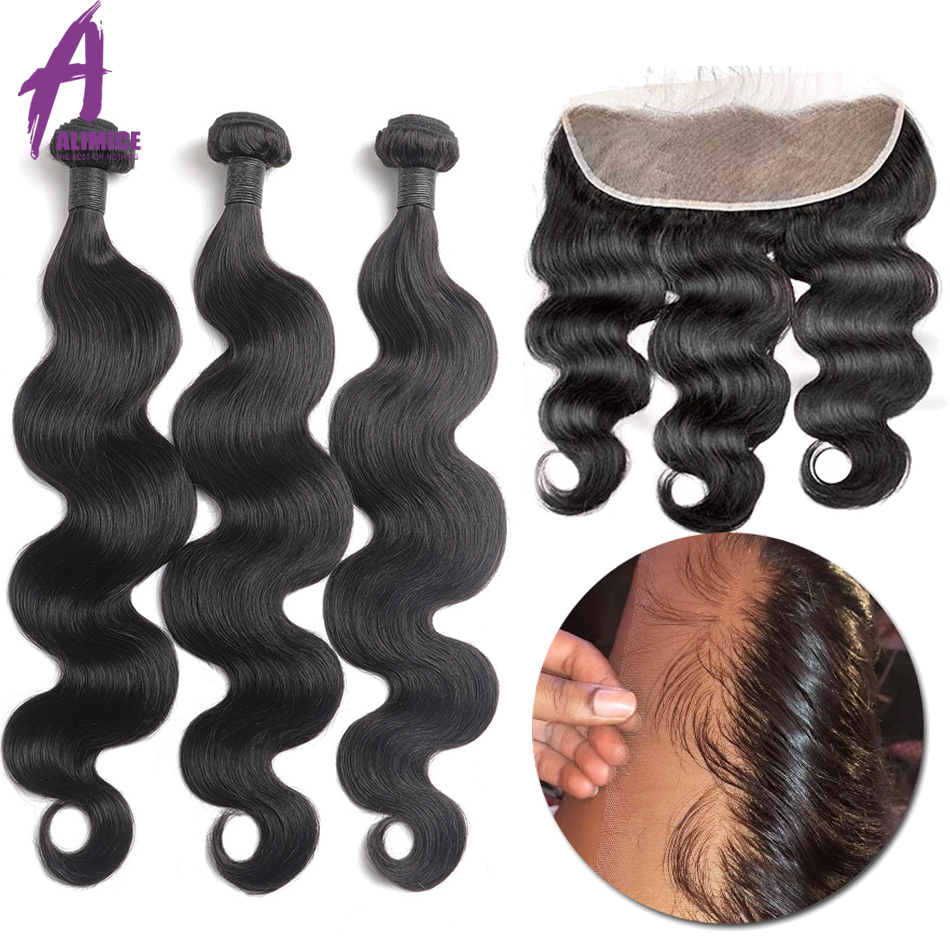 Alimice Indian Body Wave Human Hair Bundles With Frontal 13*4 Indian Hair Weave 3 Bundles With Frontal Preplucked Remy Hair-in 3/4 Bundles with Closure from Hair Extensions & Wigs