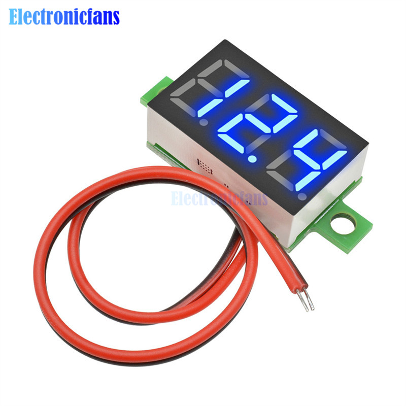 0.36 Inch 3-Digit Display Voltmeter Meter Mini Digital LED Display Voltmeter Blue Panel Voltage Meter DC 4.7~32V