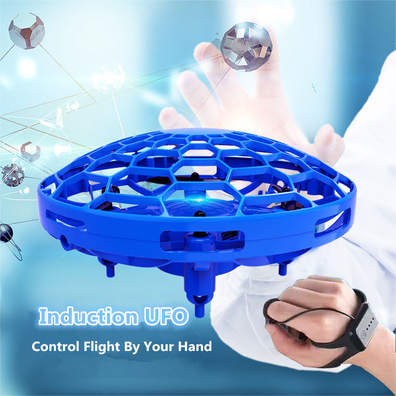 Fly UFO Drone Intelligent Gesture Induction UFO RC Drone Suspension Obstacle Avoidance Watch Remote Control 3 Model Control Toy|RC Helicopters| |  - title=