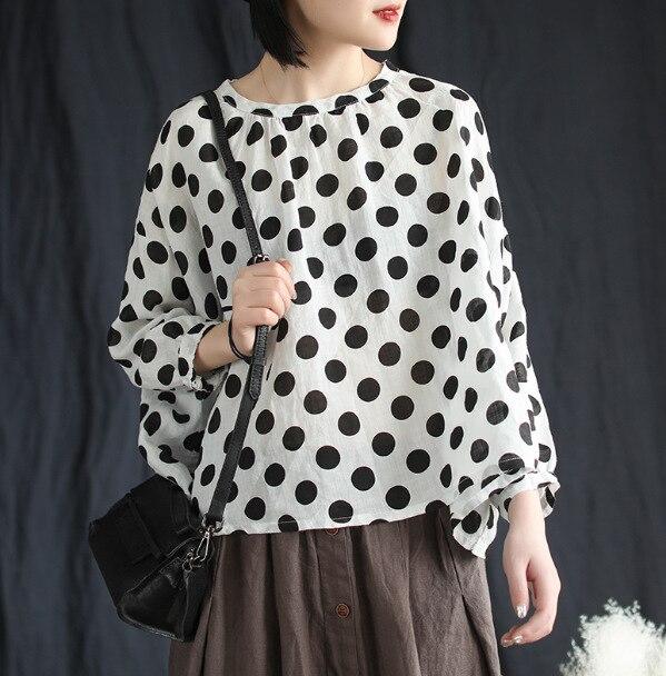 19 été nouveau Style lin T-shirt femmes pointillé fille chemise ample-Fit littérature et Art à capuche avec manches col rond femmes