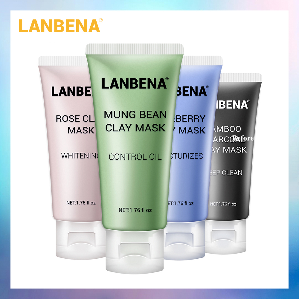 LANBENA Mung Bean Clay Face Mask Skin Care Bamboo Charcoal Blueberry Rose Deep Cleaning Remove Grease Ageless Shrinks Pores 4PCS