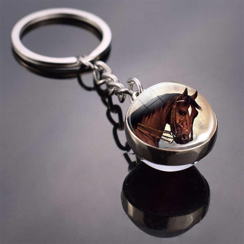 الحصان المفاتيح الحصان صورة كرة زجاجية المفاتيح مزدوجة الجانب الزجاج كابوشون كابوشون الزجاج قلادة معدنية كيرينغ مجوهرات بأشكال حيوانات