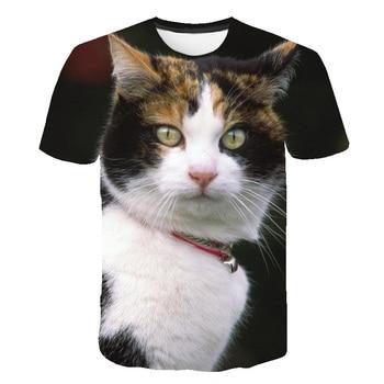 Verano camiseta de hombre efecto 3D estampado Animal hombres/mujeres 2020 nueva impresión del gatito gracioso gato manga corta Camiseta lisa 3D diseño Camiseta Hombre