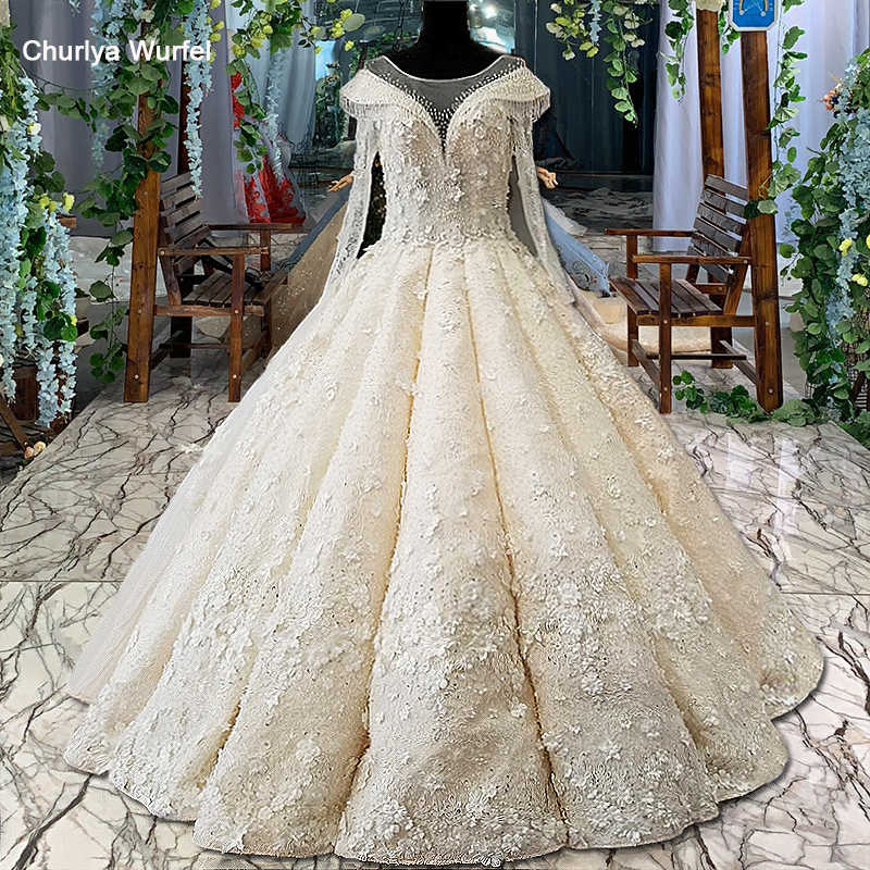 Ls00460 3d Flowers Wedding Dress O Neck Long Tulle Sleeves Ball