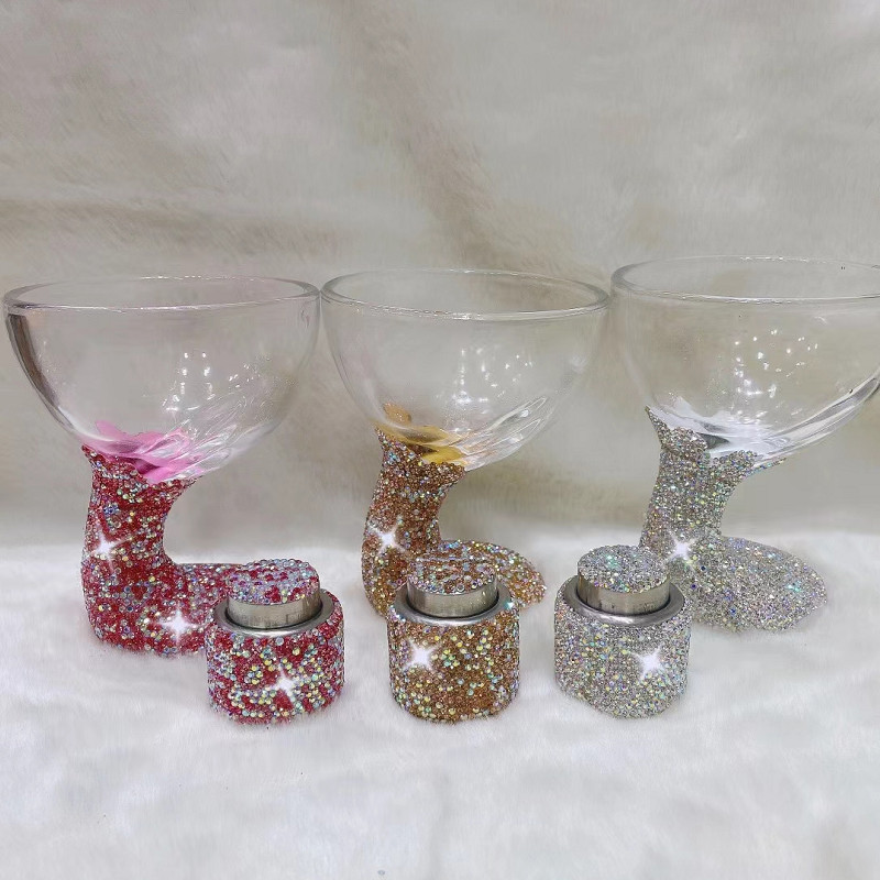 Champagne Glass Stopper Sets Diamond Shiny Crystal Cup Wedding Bar Cocktail Wine Party Drinkware Mugs Birthday Gift