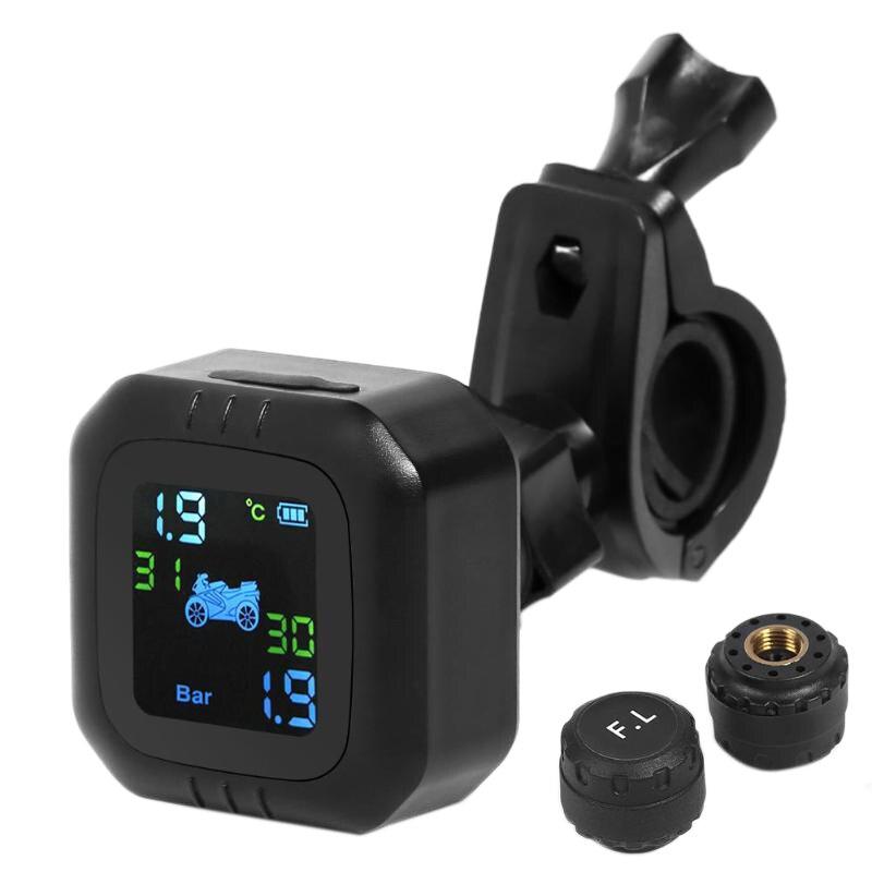 M6 motosiklet TPMS kablosuz lastik basıncı izleme sistemi LCD ekran Alarm dahili veya harici Th/Wi sensörü