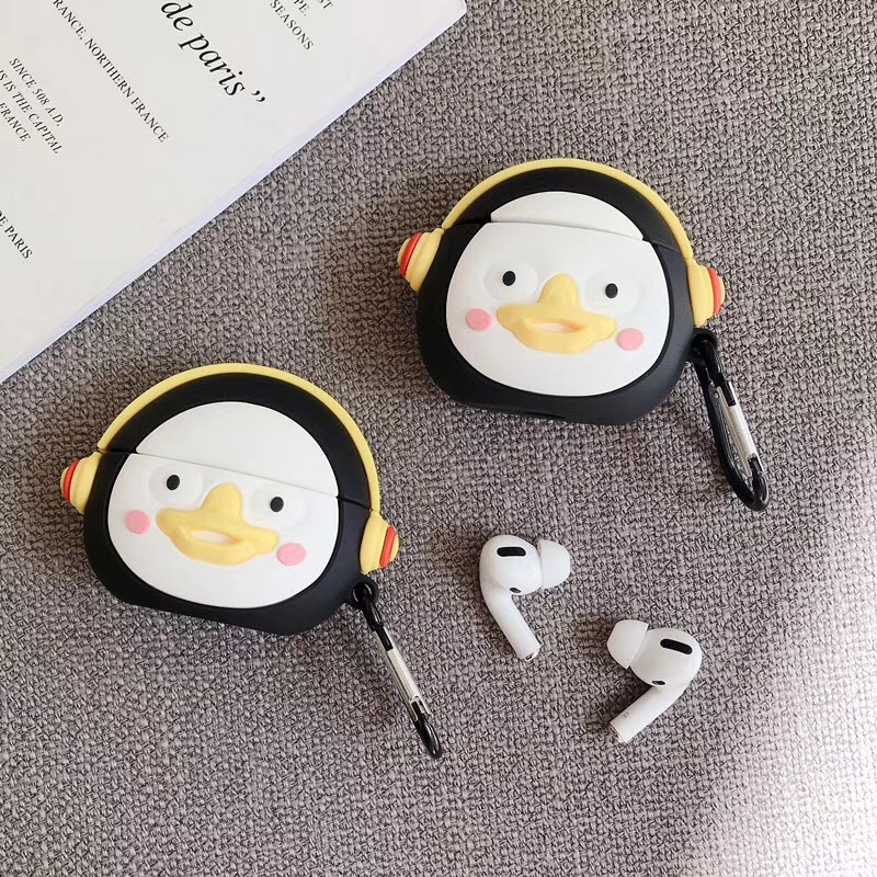 Cute Funny Penguin Cartoon Headphone Case  For Airpods1/2 For Airpods Pro 3 Cover Funda 3D Animal Silicon Earphones Case Coque