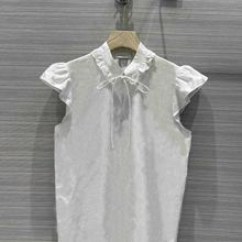 2021 Summer White Blouses for Women Luxury Brand Stand Collar Flying Sleeve Casual Blouses Fashion Embroidery Cotton Blouse Lady