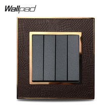Hot Sale 4 Gang 1 Way Wallpad Luxury Leather Panel Silver Gold Frame Light Switch Rocker Wall Switches 16A AC 110~250V(China)