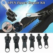 6 pçs #3 #5 #7 universal kit de reparação de zíper correção instantânea substituição 3 tamanhos diferentes zíper slider vestuário zip acessórios
