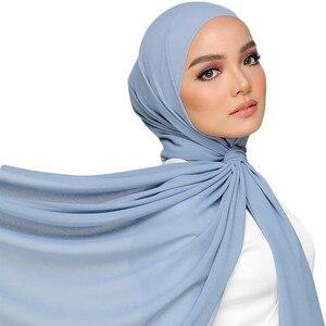 Image 3 - M2 10pcs Hot sale  plain bubble chiffon hijab scarf shawl wrap  lady headband women scarf/scarves 180*75cm