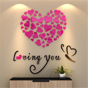 Image 3 - Romantic DIY Art 3D Acrylic Love Heart Wall Stickers Bedroom Living Room wedding decoration wall stickers muraux wallpaper A3086