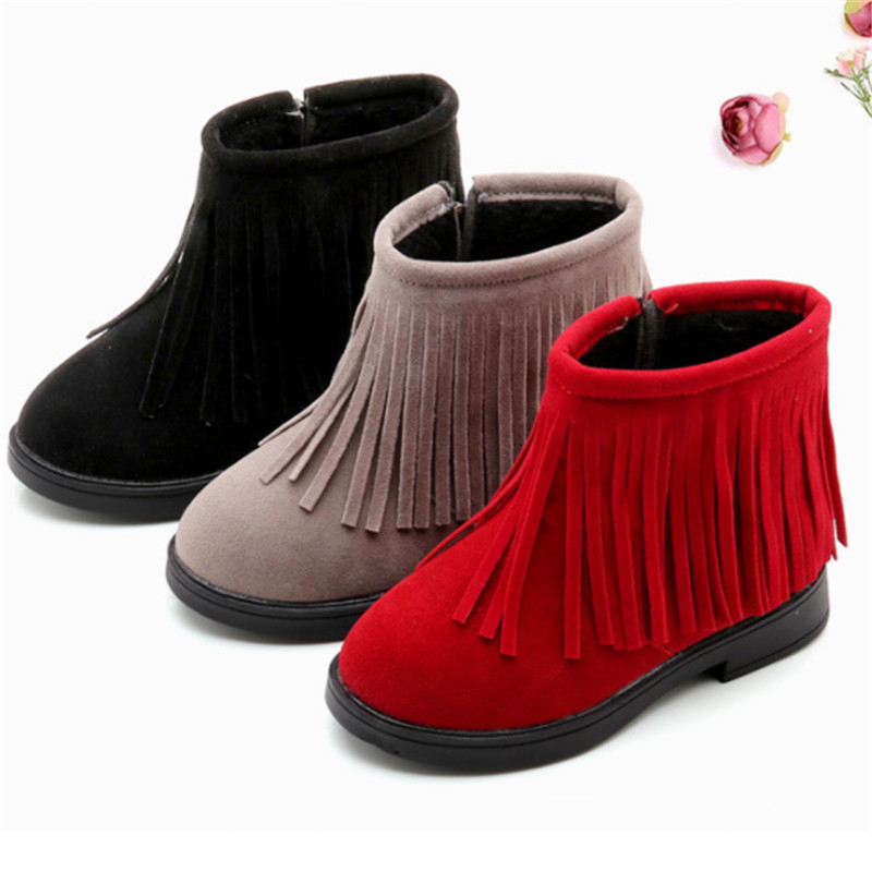Girls Boots Autumn Winter Girls Shoes Tassel Kids Boots For Girls Little Children Ankle Snow Boots Size 27-37 Bota Infantil