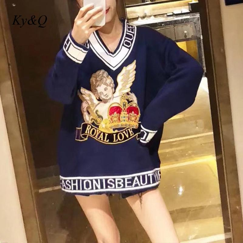 Luxury Women Blue Velet Sweaters Pullovers Angel Baby Embroidery 2020 spring New Jumper Runway Designer Christmas Clothes|Pullovers| - AliExpress