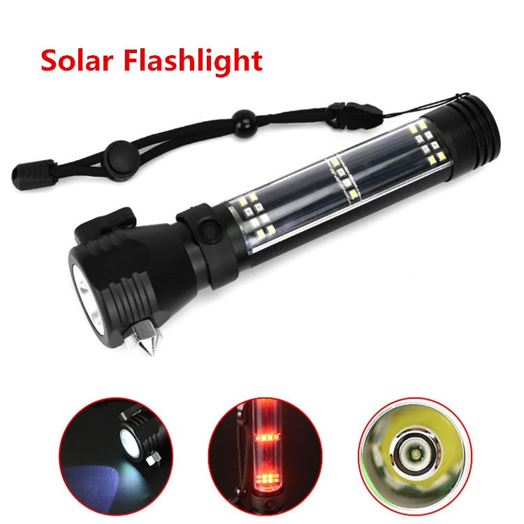 Solar Rechargeable Flashlight Multifunction Emergency Led Safety Escape Hammer Self Defense Selfdefense Defence Self-defense