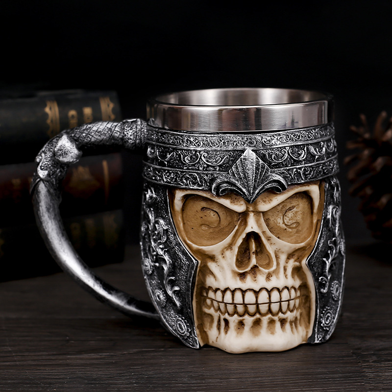 Creative 3D Skull Cup Stainless Steel Mug Skull Bone Brother Molten Rock Coffee Drinking Cup  Halloween Party Decoration
