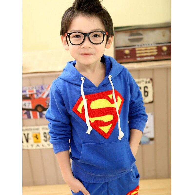 Комплект детской одежды для мальчиков, Спортивная толстовка с длинными рукавами с суперменом+ штаны, коллекция года, весенние комплекты, повседневная одежда для маленьких мальчиков, топы с капюшоном - Цвет: blue