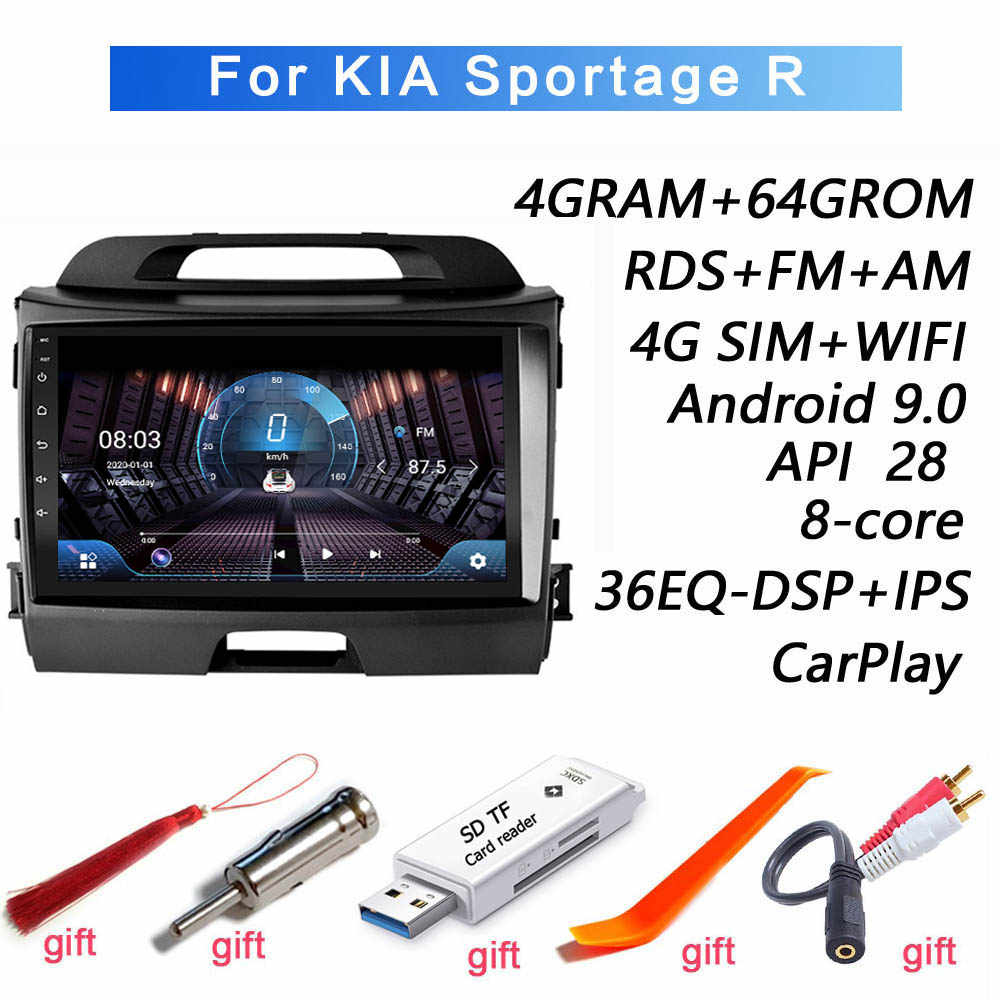 4G + 64G DSP 2 din Android 9.0 4G NET Car Radio Multimedia Video Player per KIA sportage R 2011 2008-2017 anni di WiFi Bluetooth
