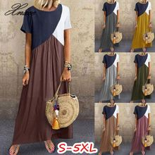 Women Casual Dress Short Sleeve Patchwork Long Vestidos Female Summer Boho Beach Maxi Dresses Plus Size S-5XL